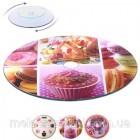 Подставка для украшения торта стеклянная вращающаяся 32 см с рисунком